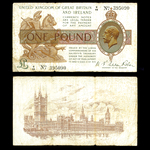 Great Britain 1 Pound 1922 George V  Letter and figure 1 over number (dot). F-15