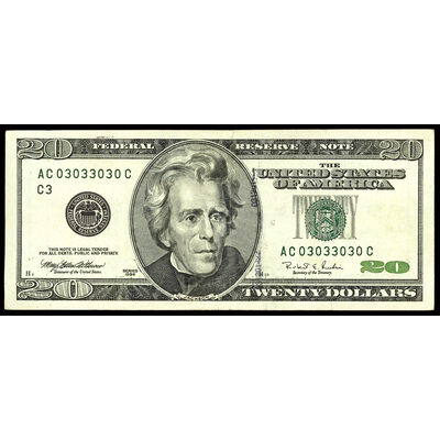 US $20 Federal Reserve Note 1996 Withrow-Rubin Green Non-Certified VF-20