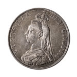 Great Britain silver 1887 -  Double Florin Victoria Arabic EF