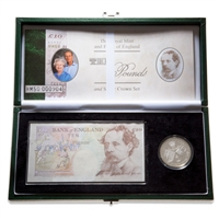 Great Britain 2000 5 Pounds Proof Set - Coin and 10 Pound Banknote Set