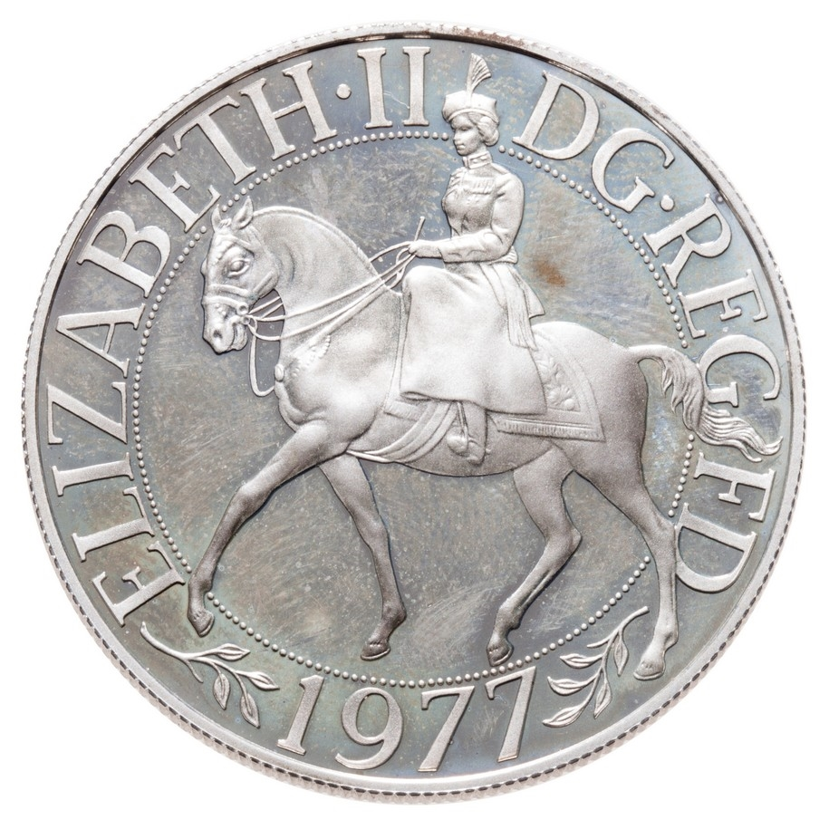 Horse Eagle animal wildlife coin 1977 Great Britain 1 crown
