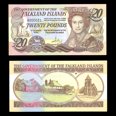Falkland Islands 20 Pounds 1984 Elizabeth II Serial #31 AU-55