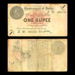 India 1 Rupee 1917 George V Watermark: Rayed star in square. Signature M. M. S. Gubbay. VF-20