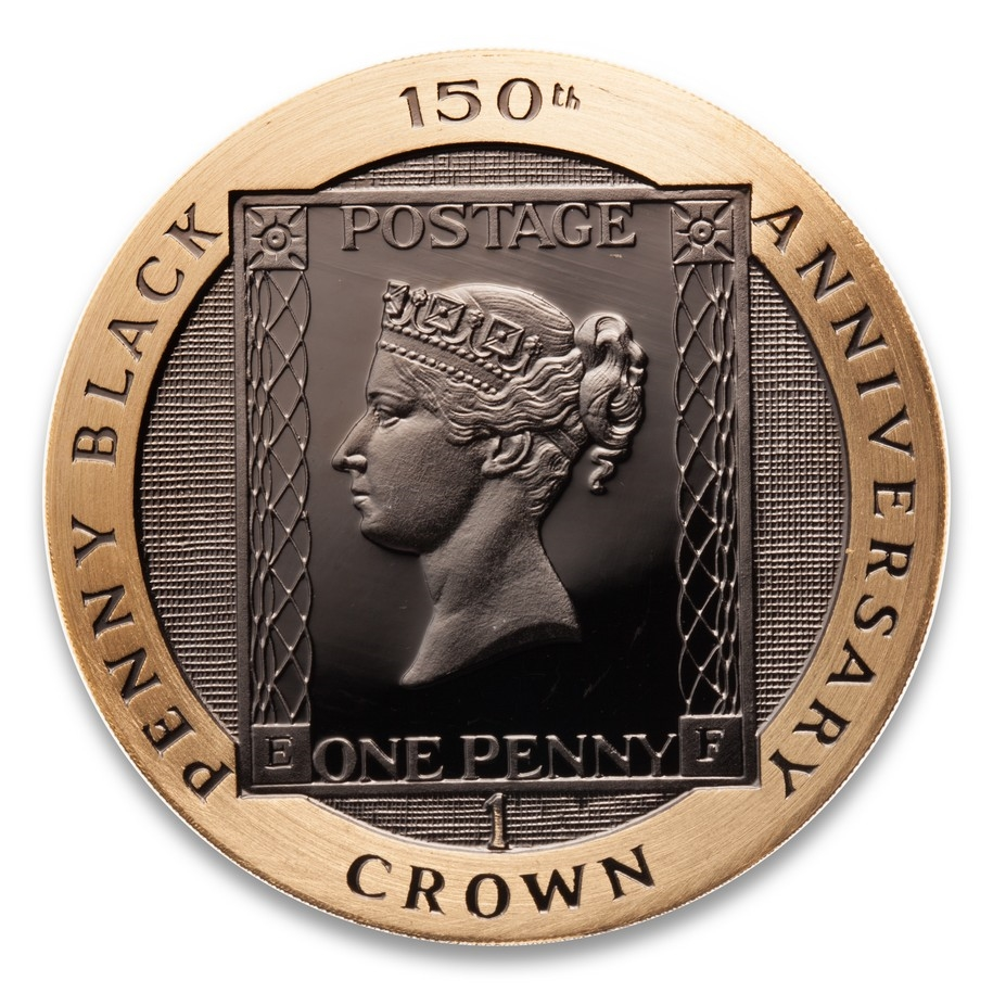 Isle of man 1990 1 crown fine gold proof coin 150th anniversary of isle of man 1990 1 crown fine gold proof coin 150th anniversary of penny black stamp publicscrutiny Images