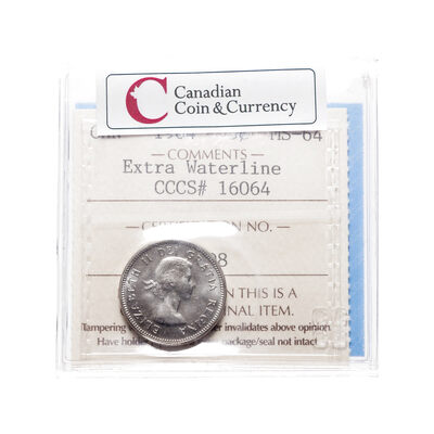 5 cent 1964 Extra Waterline ICCS MS-64