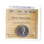 5 cent 1964 Extra Waterline ICCS MS-62