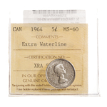 5 cent 1964 Extra Waterline ICCS MS-60