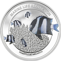 2015 $5 Marine Life Protection: Whitetail Damselfish - Sterling Silver Coin