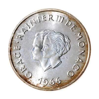 Monaco Silver 1966 -  10 Francs 10th Wedding Anniversary MS-62