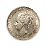 Netherlands 2 1/2 Gulden 1938 Wilhelmina I Deep Hair Lines VF-30