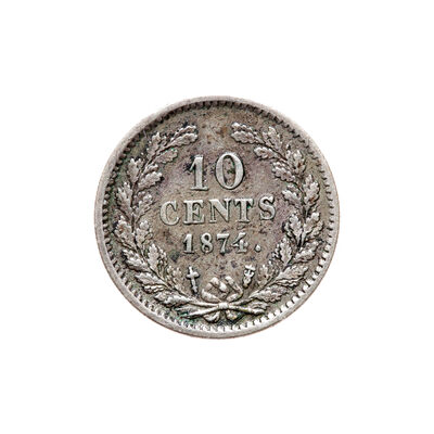 Netherlands 10 Cents 1874 William III Sword in scabbard privy mark VF-30