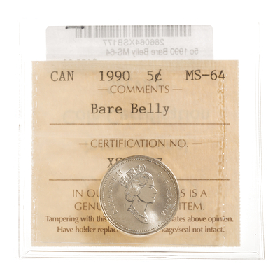 5 cent 1990 Bare Belly ICCS MS-64
