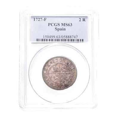 Spain Silver 1727 -  2 Reales Philip V F PCGS MS-63
