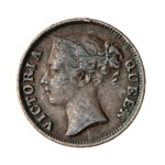 Straits Settlements 1/2 Cent 1845 WW on truncation VF-20