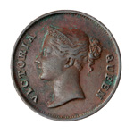 Straits Settlements Cent 1845 VF-30