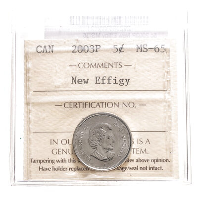 5 cent 2003P New Effigy ICCS MS-65