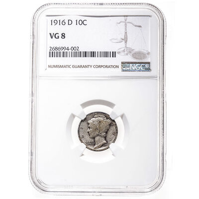 US 10 Cent 1916D NGC VG-8