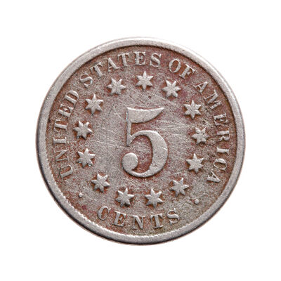 US 5 Cent 1870 Shield Nickel F-12