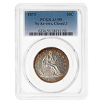 US 50 Cent 1873 No Arrows, Closed 3. PCGS AU-55