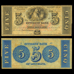 US $5 Obsolete 18- Citizens Bank of Louisiana New Orleans Non-Certified AU-58