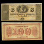 US $100 Obsolete 18- Citizens Bank of Louisiana New Orleans Non-Certified AU-58