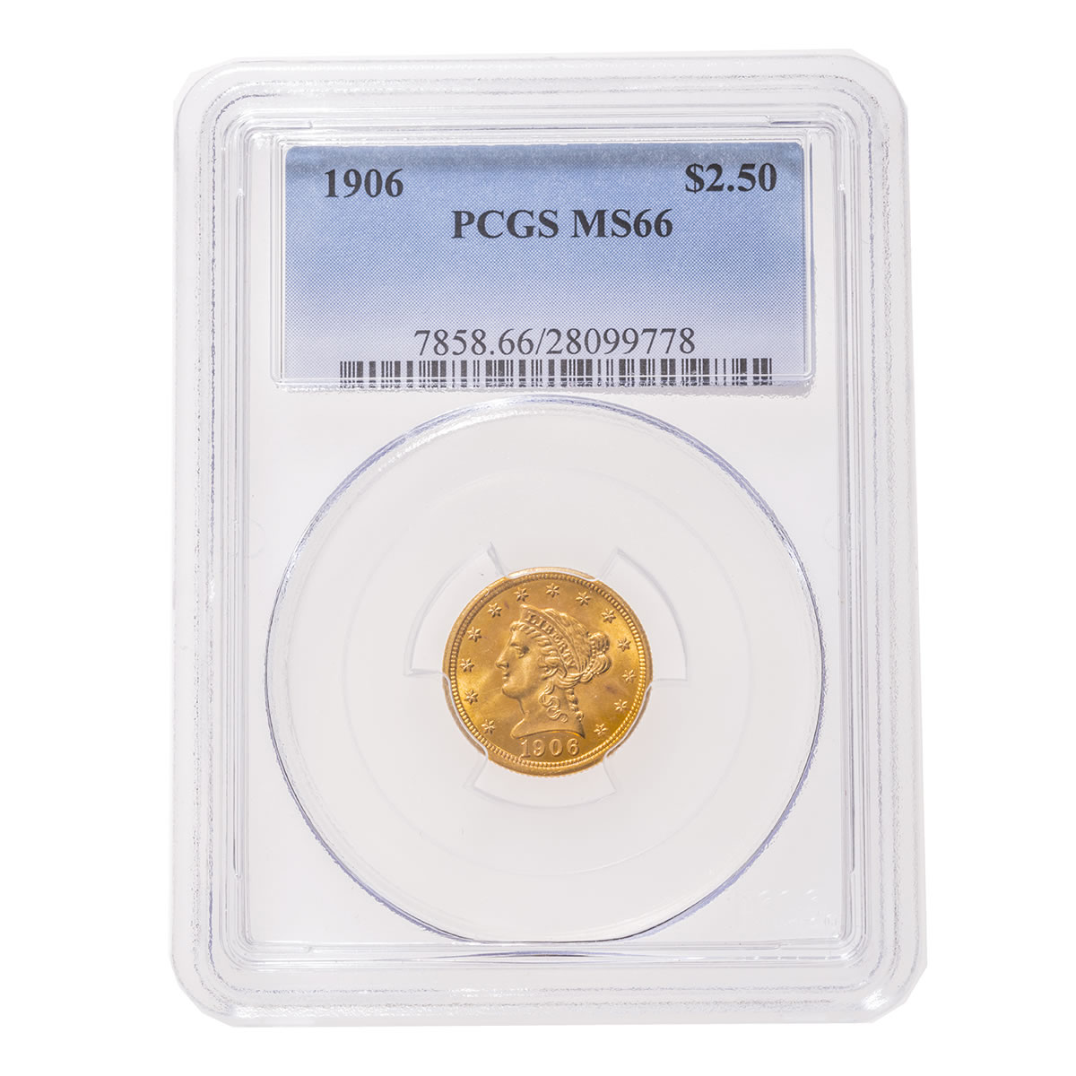 US $2 5 gold 1906 PCGS MS-66