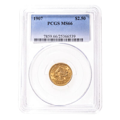 US $2.5 gold 1907 PCGS MS-66