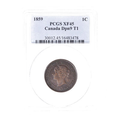 1 cent 1859 Narrow 9: DP #1 PCGS EF-45