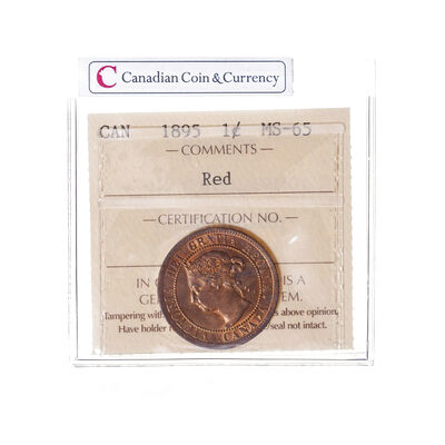 1 cent 1895 Obv 4 ICCS MS-65