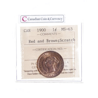 1 cent 1900  ICCS MS-63