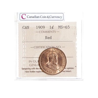 1 cent 1909 Red ICCS MS-65
