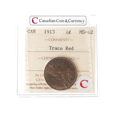 1 cent 1913 Trace Red ICCS MS-62
