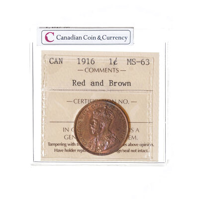 1 cent 1916  ICCS MS-63