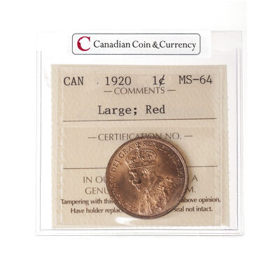 1 cent 1920 Large Red ICCS MS-64