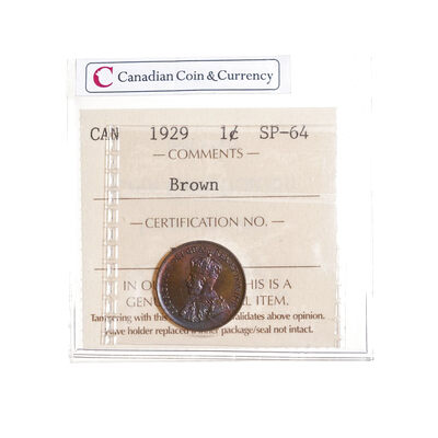 1 cent 1929 Brown ICCS SP-64