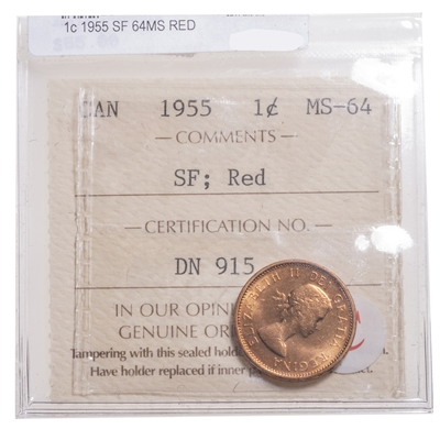 1 cent 1955 SF ICCS MS-64