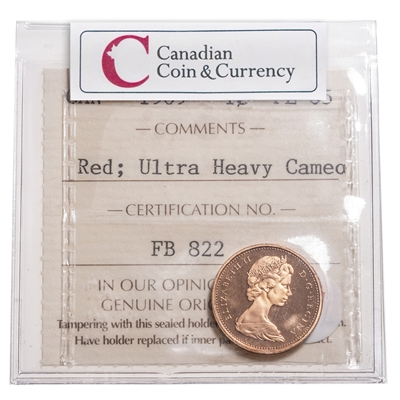 1 cent 1969 Red Ultra Heavy Cameo ICCS PL-65