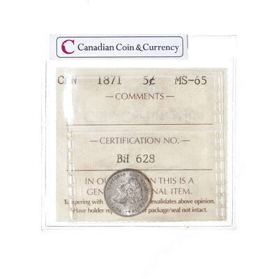 5 cent 1871  ICCS MS-65
