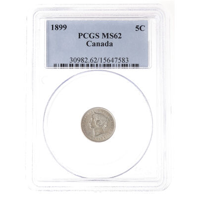 5 cent 1899 Obv 2 PCGS MS-62