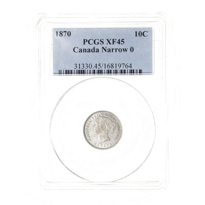 10 cent 1870 Narrow 0 PCGS EF-45