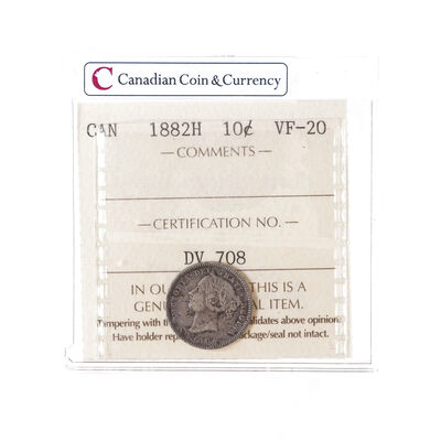 10 cent 1882H  ICCS VF-20