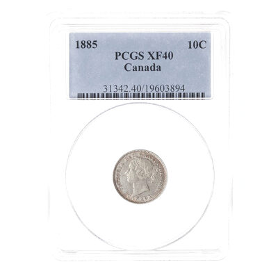 10 cent 1885 Obv 4 PCGS EF-40