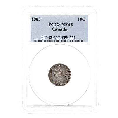 10 cent 1885 Obv 4 PCGS EF-45