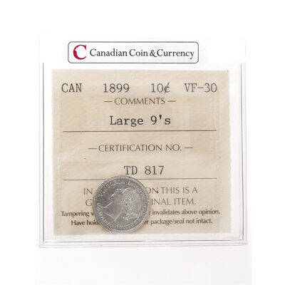 10 cent 1899 Large 9's ICCS VF-30