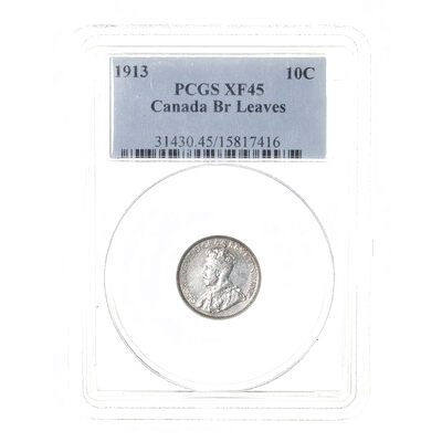 10 cent 1913 Broad Leaves PCGS EF-45