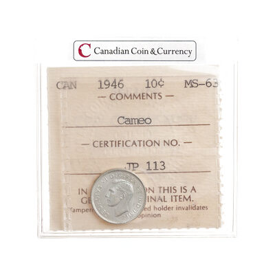10 cent 1946 Cameo ICCS MS-63