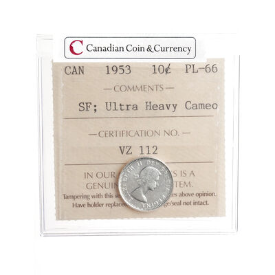10 cent 1953 SF Ultra Heavy Cameo ICCS PL-66