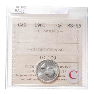 10 cent 1963  ICCS MS-65