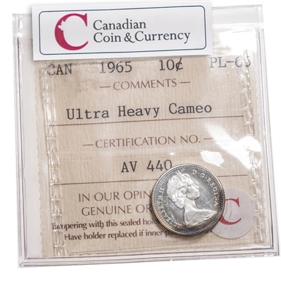10 cent 1965 Ultra Heavy Cameo ICCS PL-65