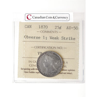 25 cent 1870 Weak Strike ICCS AU-50